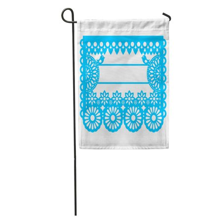 KDAGR Mexican Papel Picado Blank Text Traditional Garland Pattern Floral Inspired Garden Flag Decorative Flag House Banner 28x40 inch