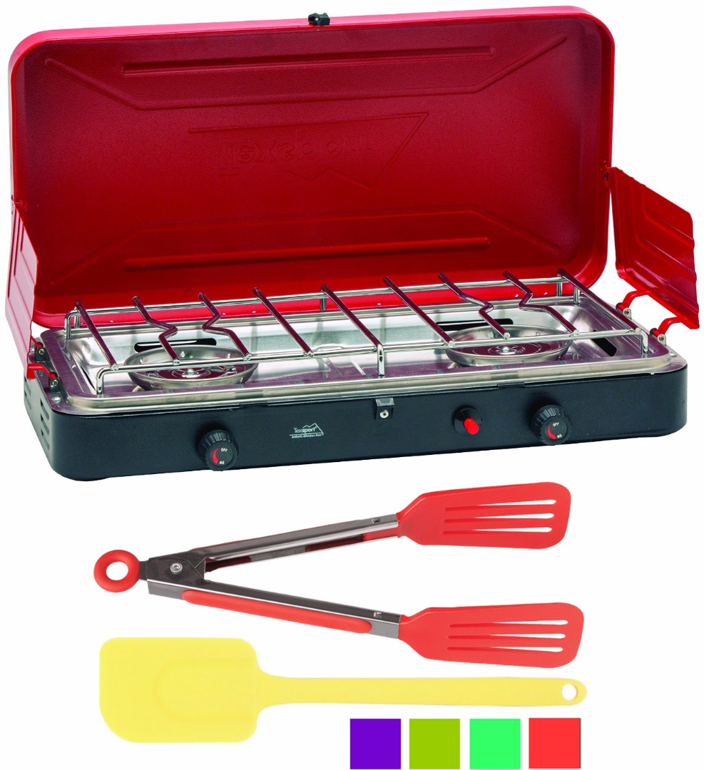 TexSport SUPER HI OUTPUT PROPANE STOVE+Spatula+Flipper Tongs