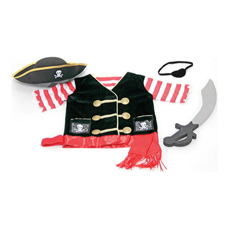 Melissa & Doug Pirate Role Play Costume Dress-Up Set With Hat, Sword, and Eye - Wish Costumes