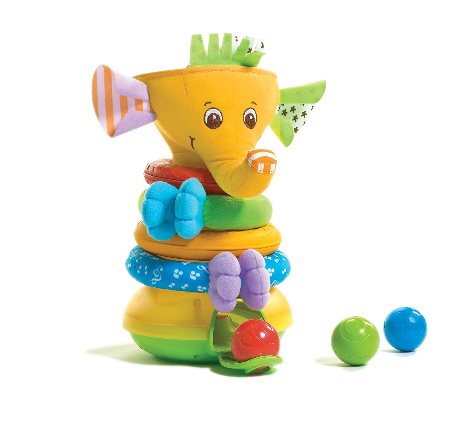 Musical Stack and Ball Game, Yellow Elephant By Tiny Love by