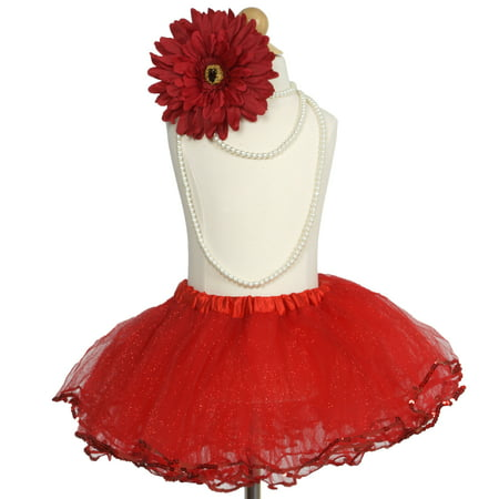 Efavormart 4 Layered Glitter Sequin Edged Girls Ballet Tutu Skirt for Dance Performance Events Wedding Party Banquet Event Skirt - Skirt Tutu