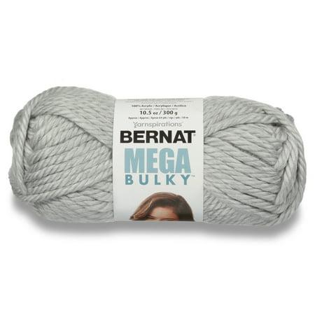 - Bernat Mega Bulky Yarn, 300g, Light Grey Heather