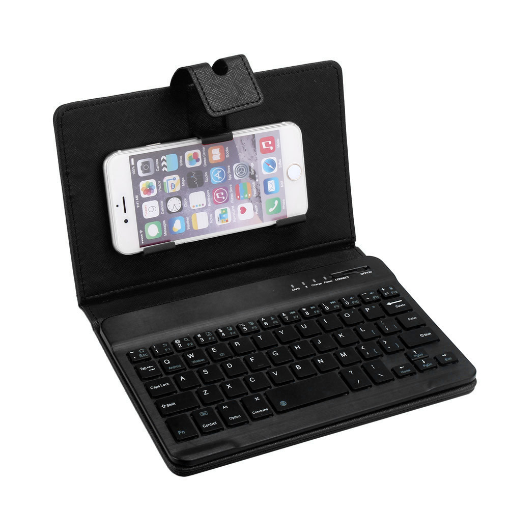 DZT1968® Leather With Detachable Bluetooth Keyboard For 5-7Inch IOS, Android Phone