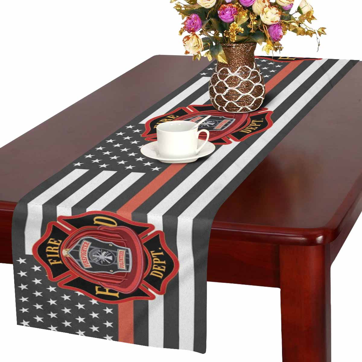 Mkhert Thin Red Line Firefighter Flag Table Runner Home Decor For Home Kitchen Wedding Party Banquet Decoration 16x72 Inch Walmart Com Walmart Com