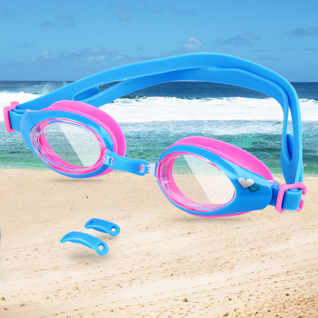 Kids Swimming Goggles UV Protection Anti-fog Lens Soft Silicone Frame Color 2 by