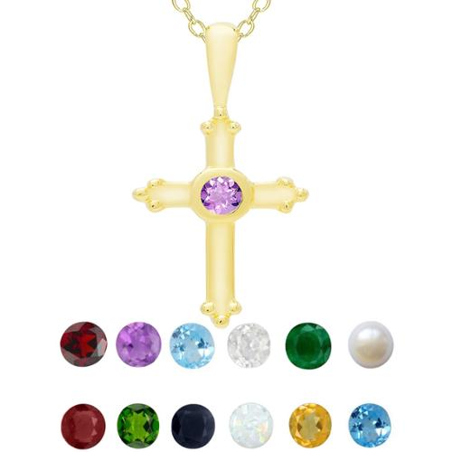 Dolce Giavonna Gold Over Sterling Silver Gemstone Birthstone Cross Necklace Sapphire