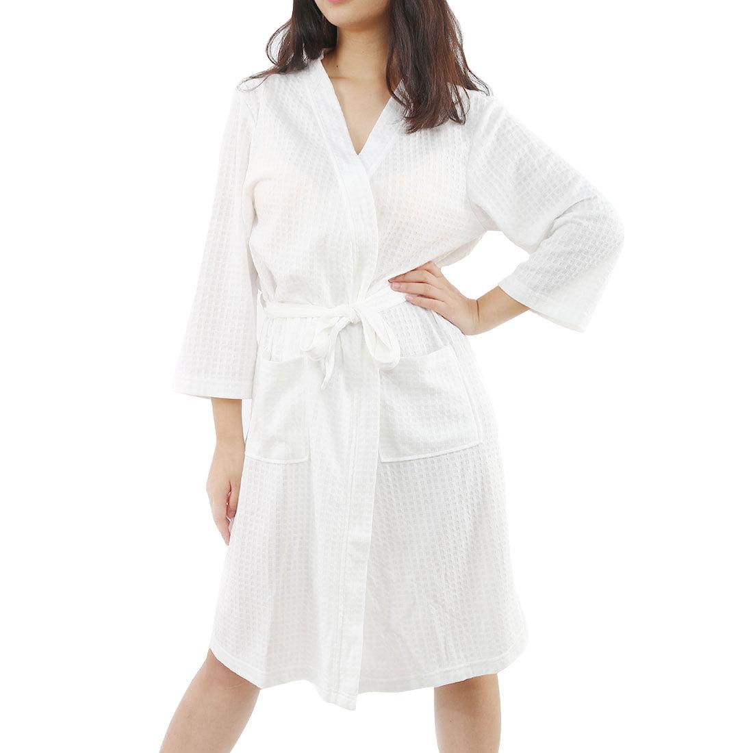 c63d13d09d Women s Turkish Cotton Lightweight Waffle Kimono Short Robe S M White