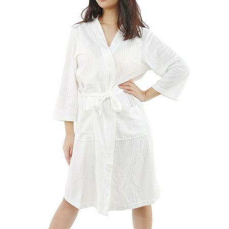 cbf14b01874 Women s Turkish Cotton Lightweight Waffle Kimono Short Robe S M White -  image 1 ...
