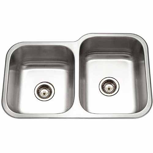 Houzer EC-3208SL-1 Elite Series Undermount Stainless Steel Double Bowl Kitchen Sink