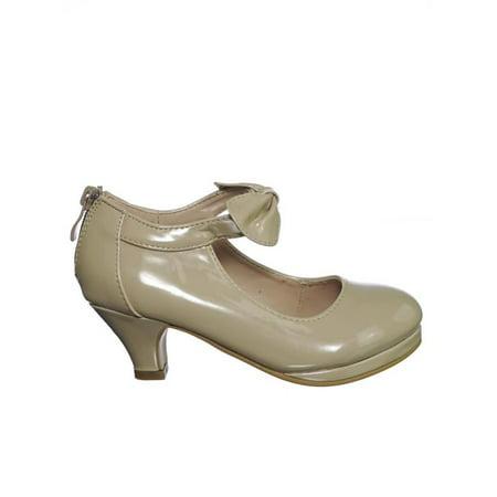Dana64K by Forever Link, Children Little Girl Platform Medium Heel Dress Pump w Mary-Jane Bow - White Childrens Dress Shoes
