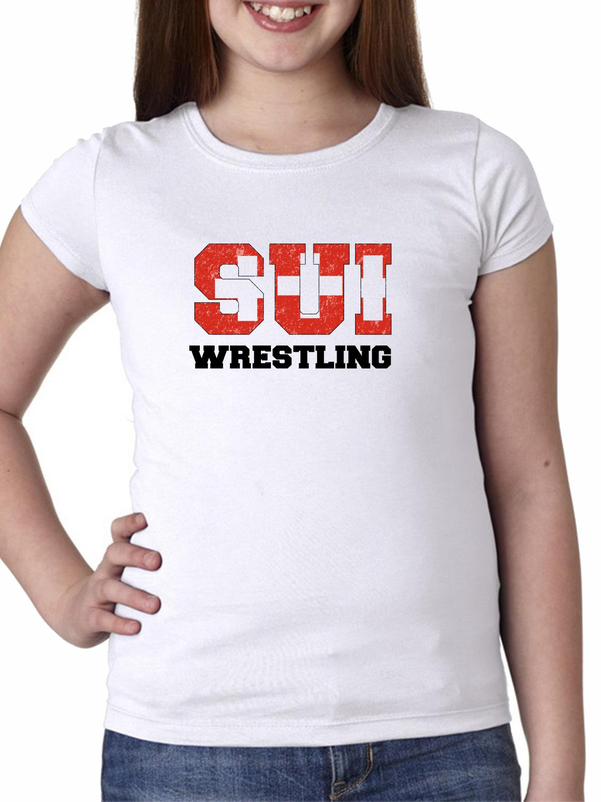 Switzerland Wrestling Olympic Games Rio Flag Girl's Cotton Youth T-Shirt by Hollywood Thread