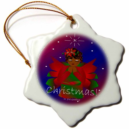 3dRose African-American Christmas Angel Baby Girl Praying With Christmas Text , Snowflake Ornament, Porcelain, 3-inch ()