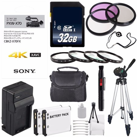 Sony 4K Upgrade License Key for Sony PXW-X70 + NP-FV70 Replacement Lithium Ion Battery + External Rapid Charger + Carrying Case + 62mm 3 Piece Filter Kit + 62mm Macro Close Up Kit Bundle 3