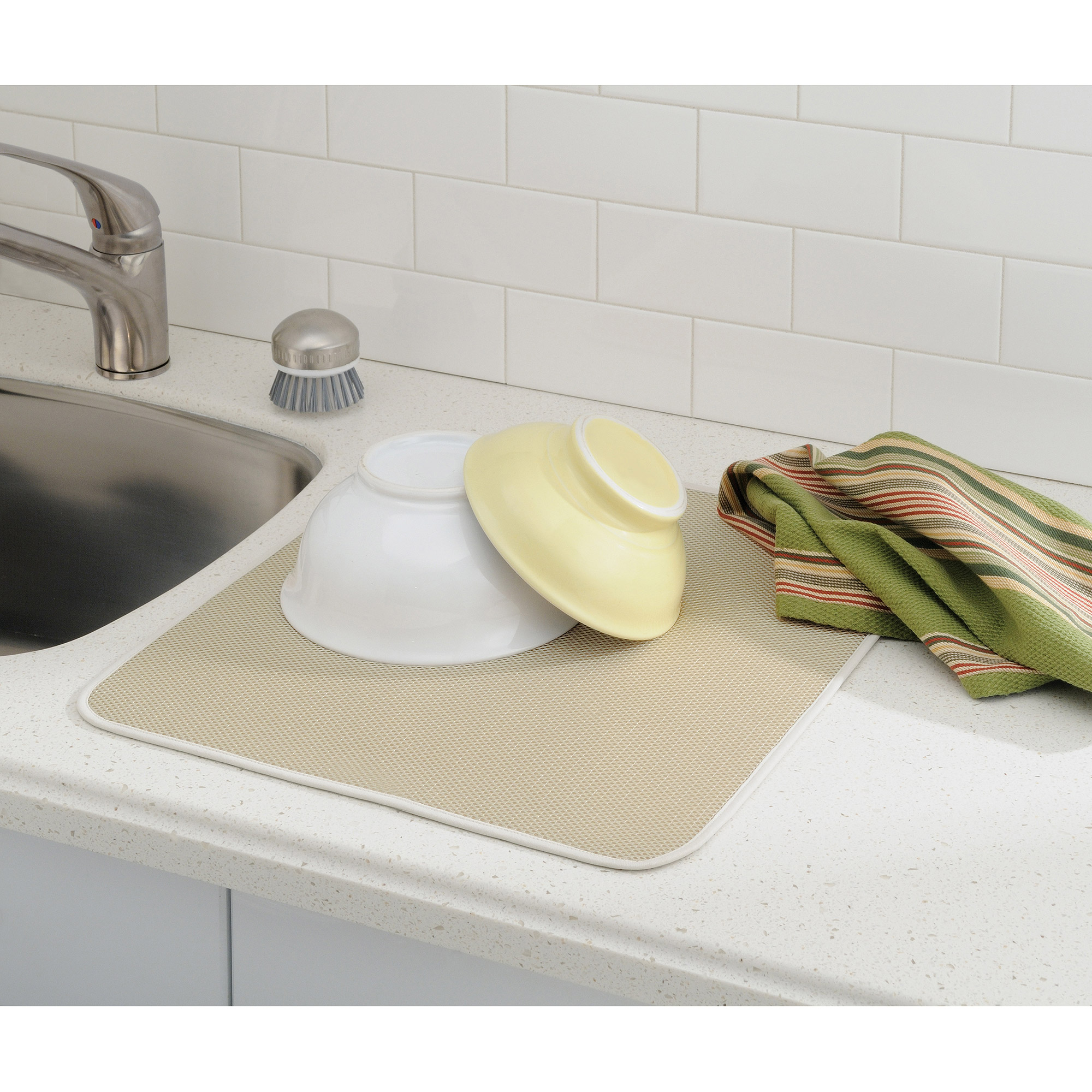 interdesign syncware kitchen sink protector mat, large, black
