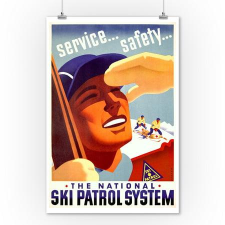 USA - Ski Patrol System - (artist: Maurer) - Vintage Advertisement (9x12 Art Print, Wall Decor Travel Poster)