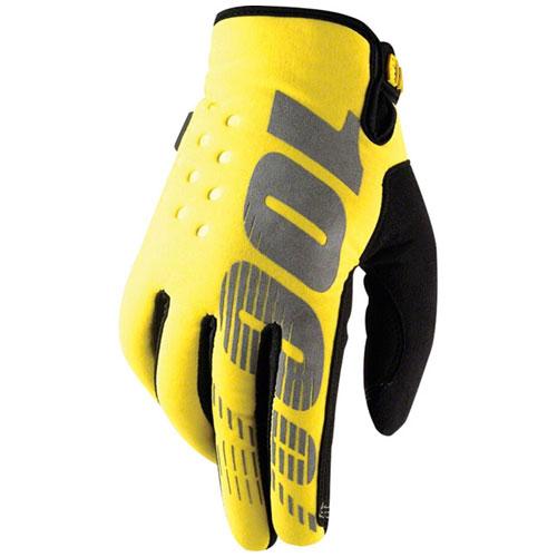 100% Brisker Cold Weather Glove: Neon Yellow, XL