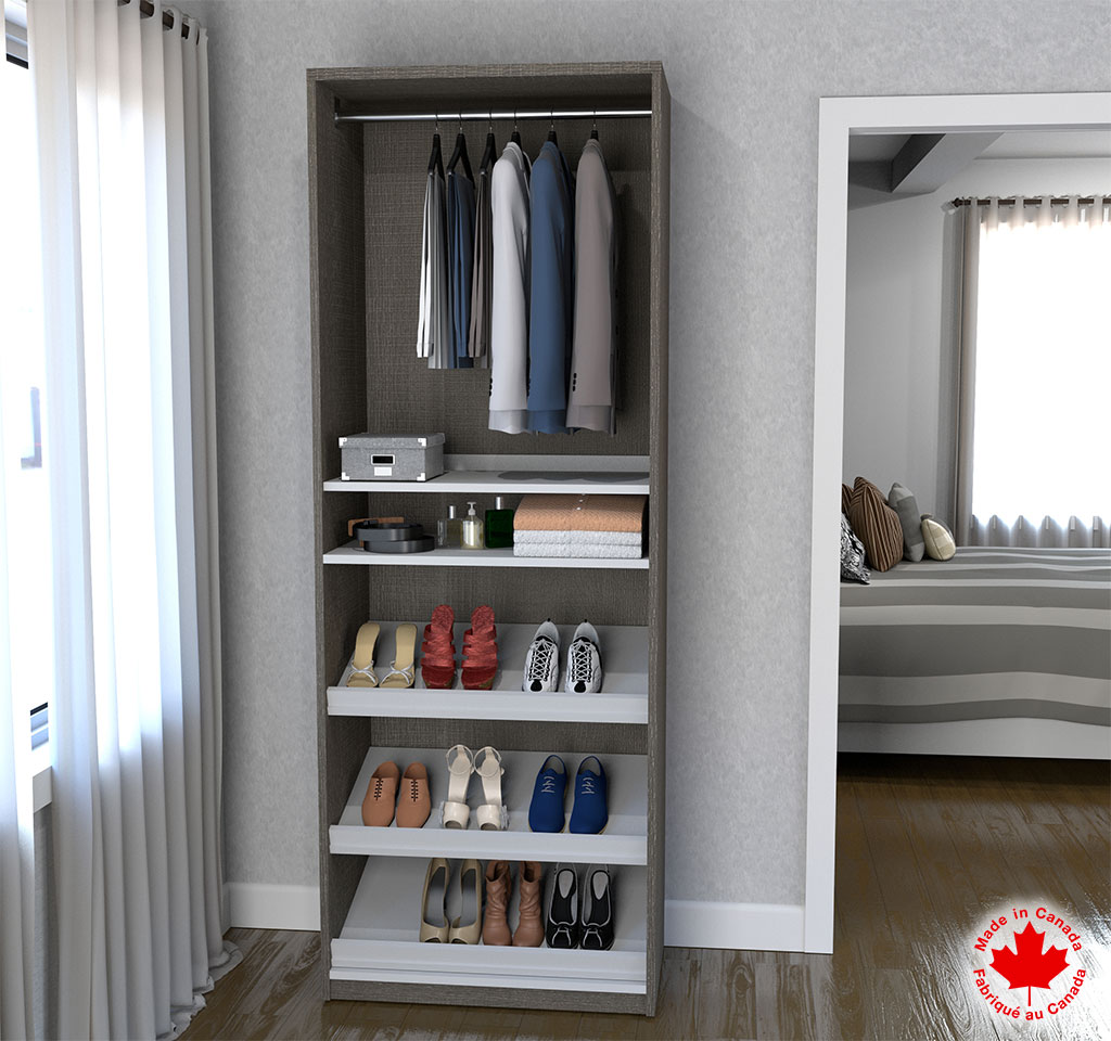 """Cielo by Bestar 29.5"""" Shoe/Closet Storage Unit Featuring Reversible Shelves in Bark Gray and White"""