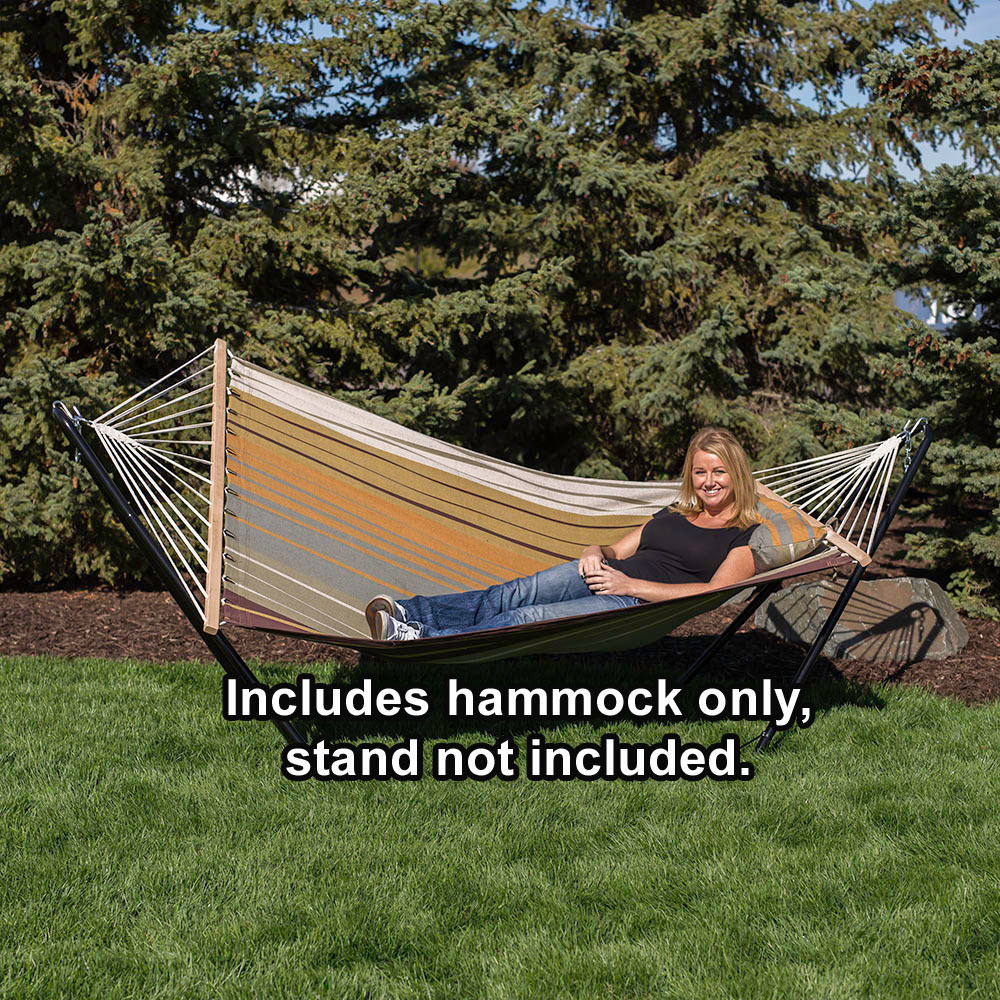 Sunnydaze Hammock Cotton Fabric w/ Spreader Bar and Detachable Pillow, 300 Pound Capacity, Sunset Beach