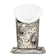 Fintie Plush Lined Eyeglasses Holder - PU Leather Protective Eyeglass Holder Stand Case, Paisley Waves