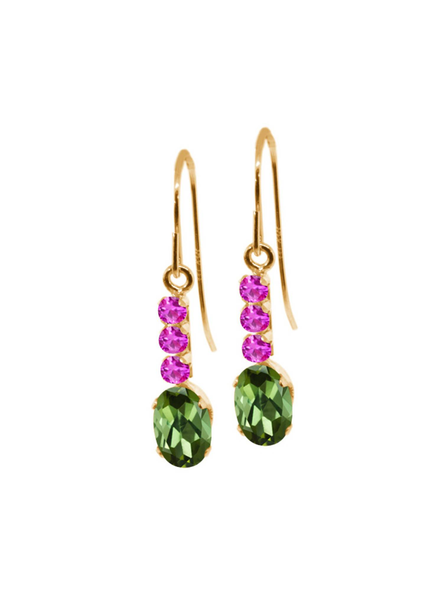 1.10 Ct Oval Green Tourmaline Pink Sapphire 10K Yellow Gold Earrings by