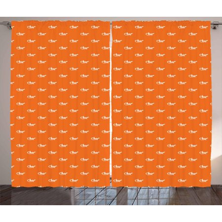 Gecko Curtains 2 Panels Set, Silhouettes of Lizards Gecko Pattern on Warm Colored Backdrop Exotic Wildlife, Window Drapes for Living Room Bedroom, 108W X 108L Inches, White and Orange, by Ambesonne (Exotic Lizard)