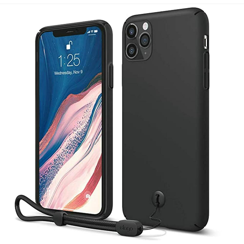"iPhone 11 Pro Max Case - elago iPhone 11 Pro Max Slim Fit Strap Case 6.5""  Black  - Slim, Light, Simple Design, Matte Coating, Anti-Slip, Raised Lip, Attachable Strap and Button, Fit Tested"