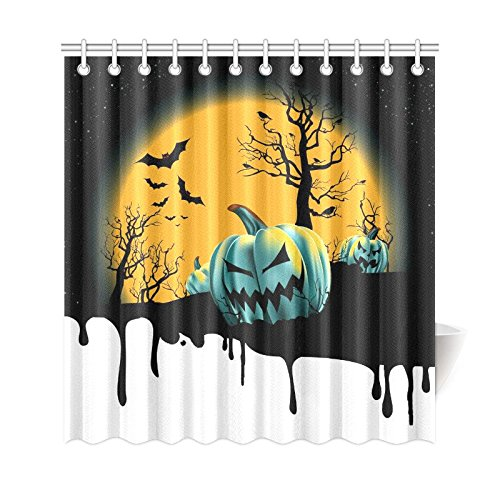 gckg full moon night wooden tree shower curtain halloween pumpkin polyester fabric shower curtain bathroom sets with hooks 66x72 inches