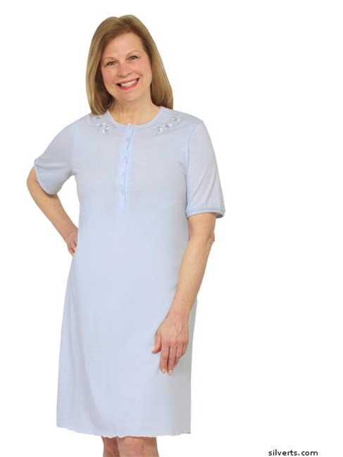 Silverts 161600204 Womens Cotton Short Sleeve Nightgown, Extra Large - Blue