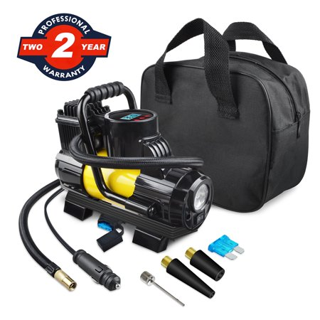 ABLEGRID 12V DC Portable 150PSI Air Compressor Car Tyre Tire Inflator Pump Auto Shut Off LED Digital Display with Carrying Bag for Car Ties, Ball, Air Bed, Balloon and More