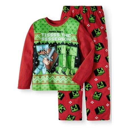 Minecraft Christmas 2 Piece Pajama Sleep Set (Little Boy & Big - Christmas Pajama Party