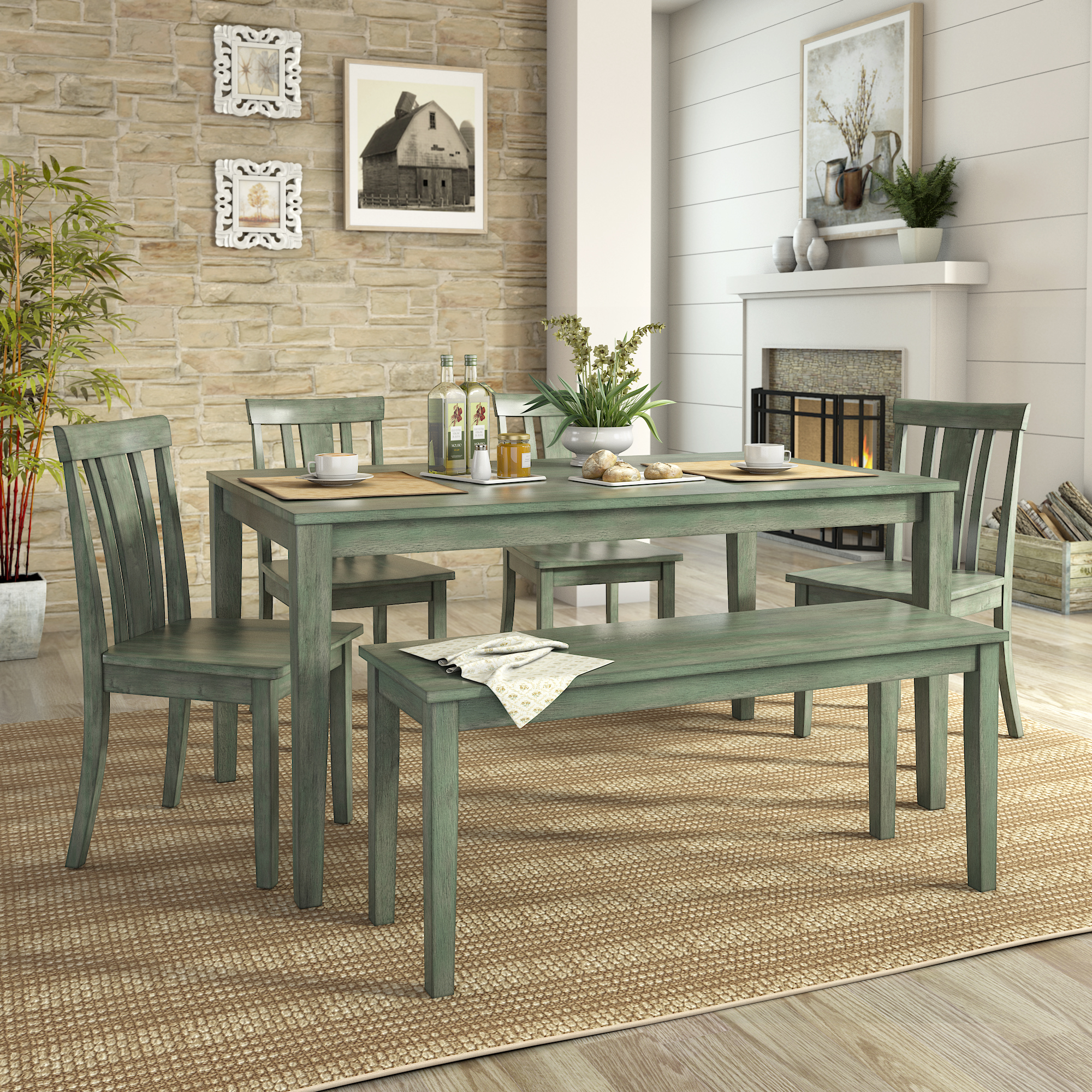 Lexington Large Dining Set with Bench and 4 Slat Back Chairs