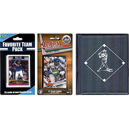 C & I Collectables 2017METSTSC MLB New York Mets Licensed 2017 Topps Team Set & Favorite Player Trading Cards Plus Storage Album