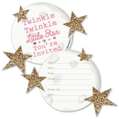 Pink Twinkle Little Star - Shaped Fill-In Invitations - Baby Shower or Birthday Party Invitations - Set of 12](Twinkle Little Star Invitations)