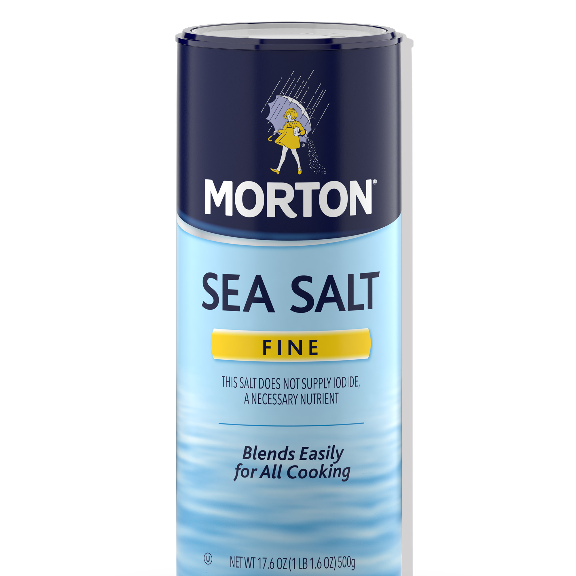 Morton Fine Sea Salt - Fast Dissolving for Marinades, Soups and Dressings, 17.6 OZ Canister