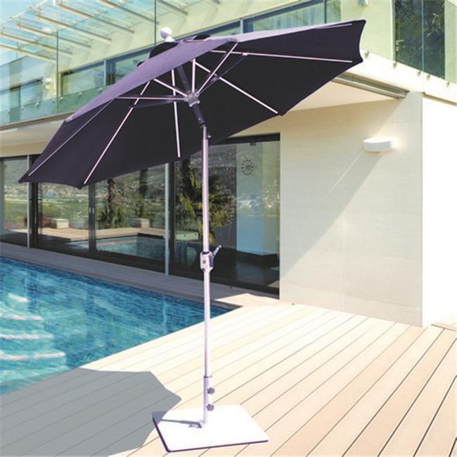 Galtech 7.5 ft. Black Deluxe Auto Tilt Umbrella - Mandarin Orange Suncrylic