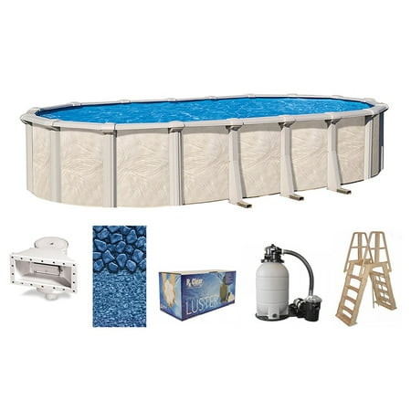 Fallston Oval Above-Ground Swimming Pools | Full Start-Up Kit {Choose Size} 15x25 Oval Pool