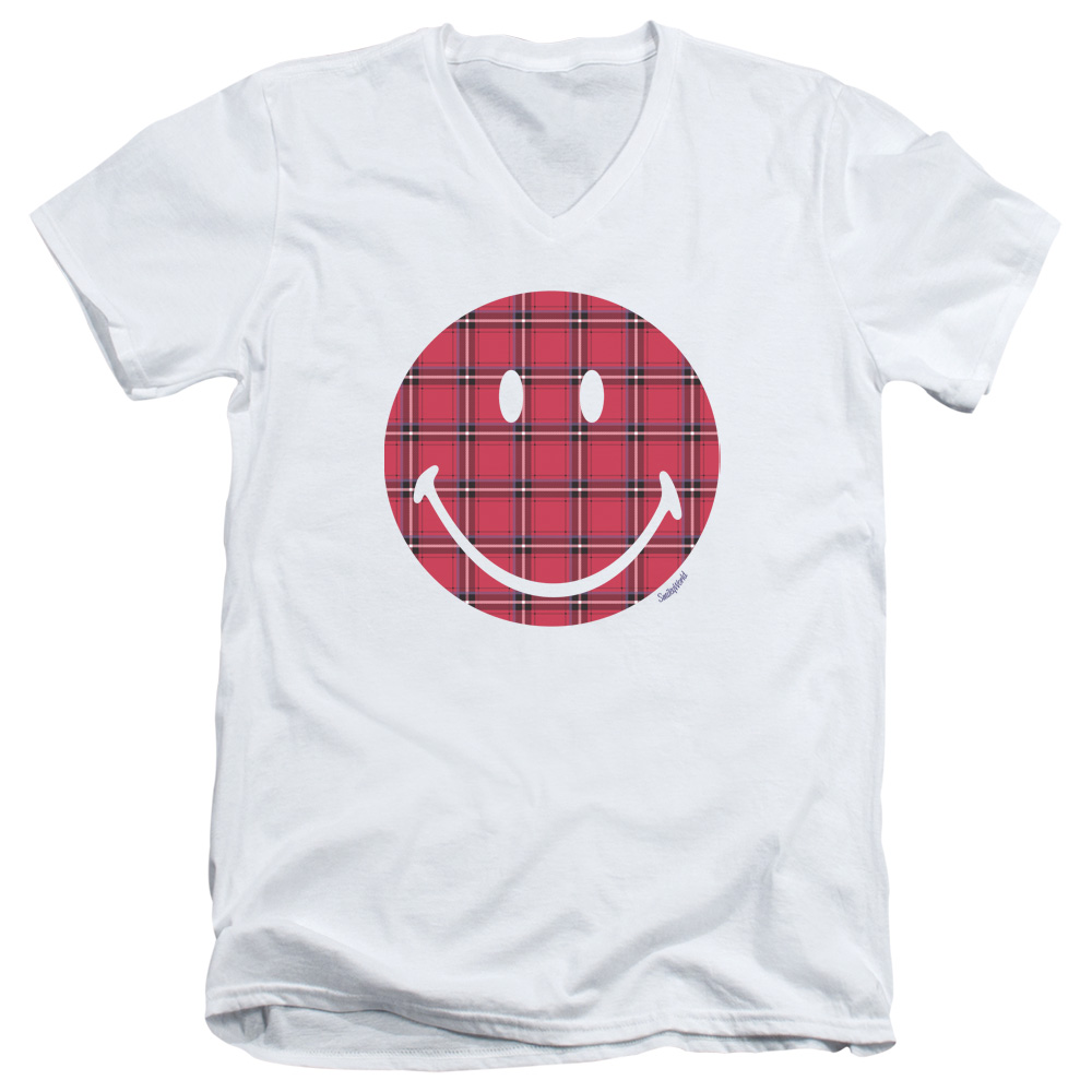 Smiley World Plaid Face Mens V-Neck Shirt