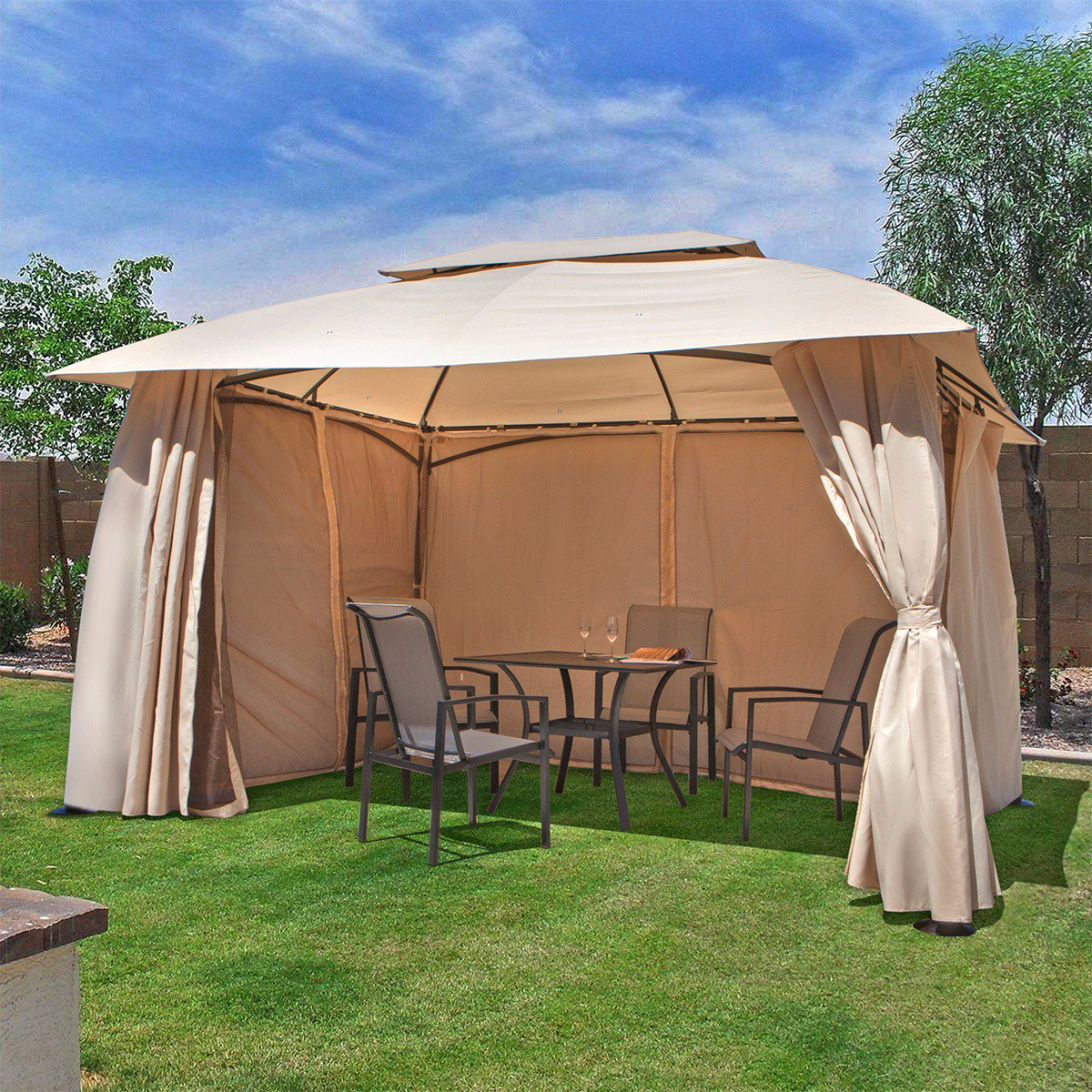 10u0027 X 13u0027 Outdoor Backyard Patio Gazebo Canopy Tent, With Netting