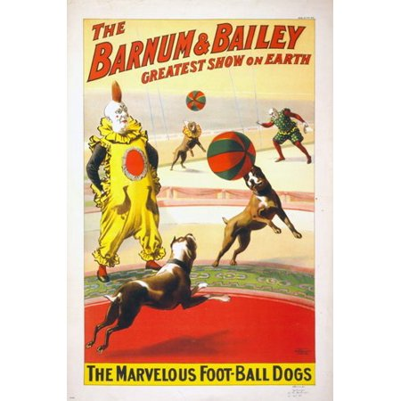 Barnum & Bailey The Marvelous Football Dogs Vintage Circus Poster 24X36