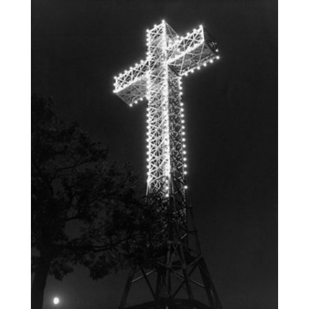 Low Angle View Of A Cross Lit Up At Night Mount Royal Montreal Canada Canvas Art     18 X 24