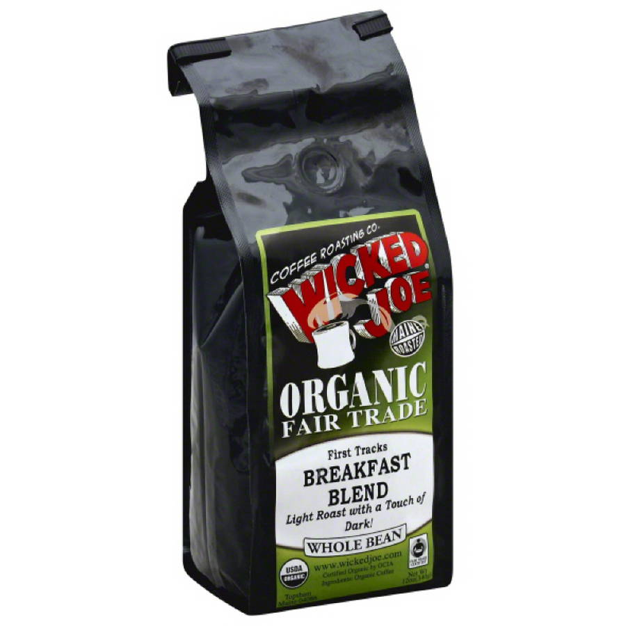 Wicked Joe Breakfast Blend Light Roast with a Touch of Dark Whole Bean Coffee, 12 oz, (Pack of 6)