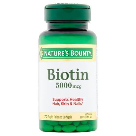 Nature's Bounty Biotine supplément de vitamine Gélules, 5000mcg, 72 count