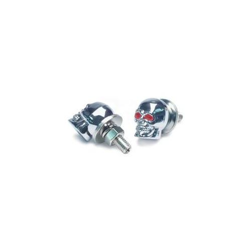 ROADPRO Skull License Plate Screws - Chrome Finish  2-Pack RP-7046