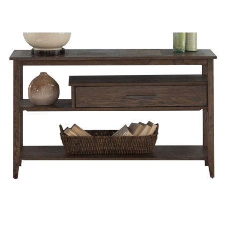 Liberty furniture brookstone console table in weathered oak for Table 52 oak brook