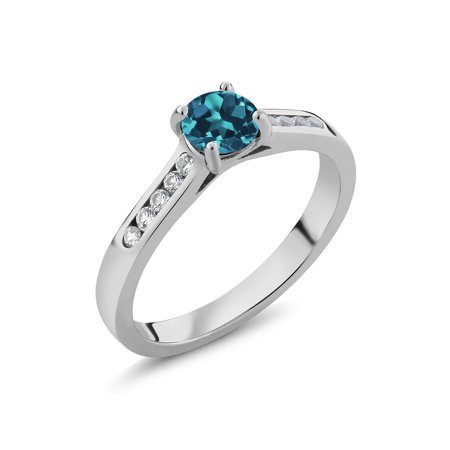 0.80 Ct Round London Blue Topaz White Created Sapphire 925 Sterling Silver Ring ()