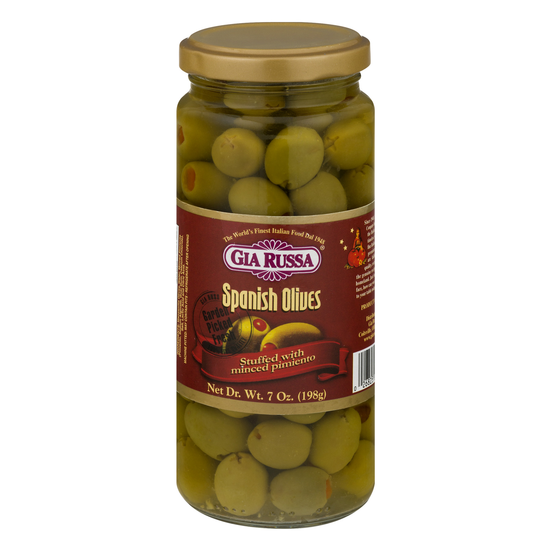 (2 Pack) Gia Russa Spanish Olives Stuffed with Minced Pimiento, 7 oz