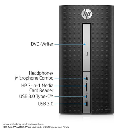 Hp Pavilion 570 P010 Desktop Pc With Intel Core I3 7100 Processor  8Gb Memory  1Tb Hard Drive And Windows 10 Home  Monitor Not Included