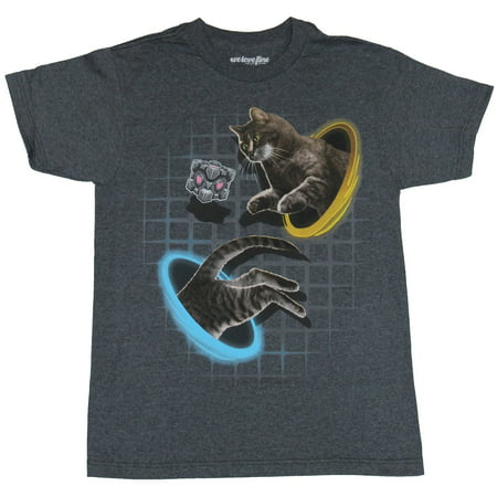 Portal Mens T-Shirt - Kitty Cat Chasing Companion Cube Through Portals - Portal Companion Cube