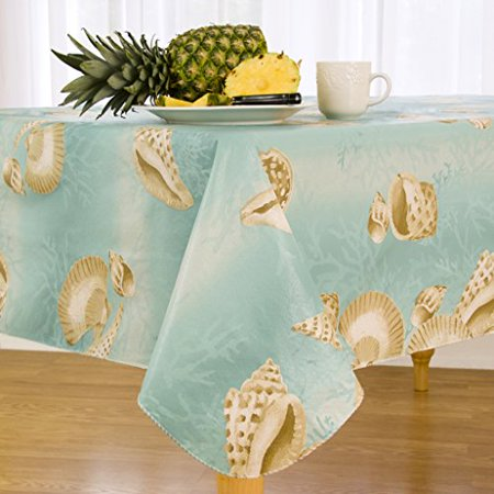 Seashell Border Flannel Backed Vinyl Tablecloth Indoor