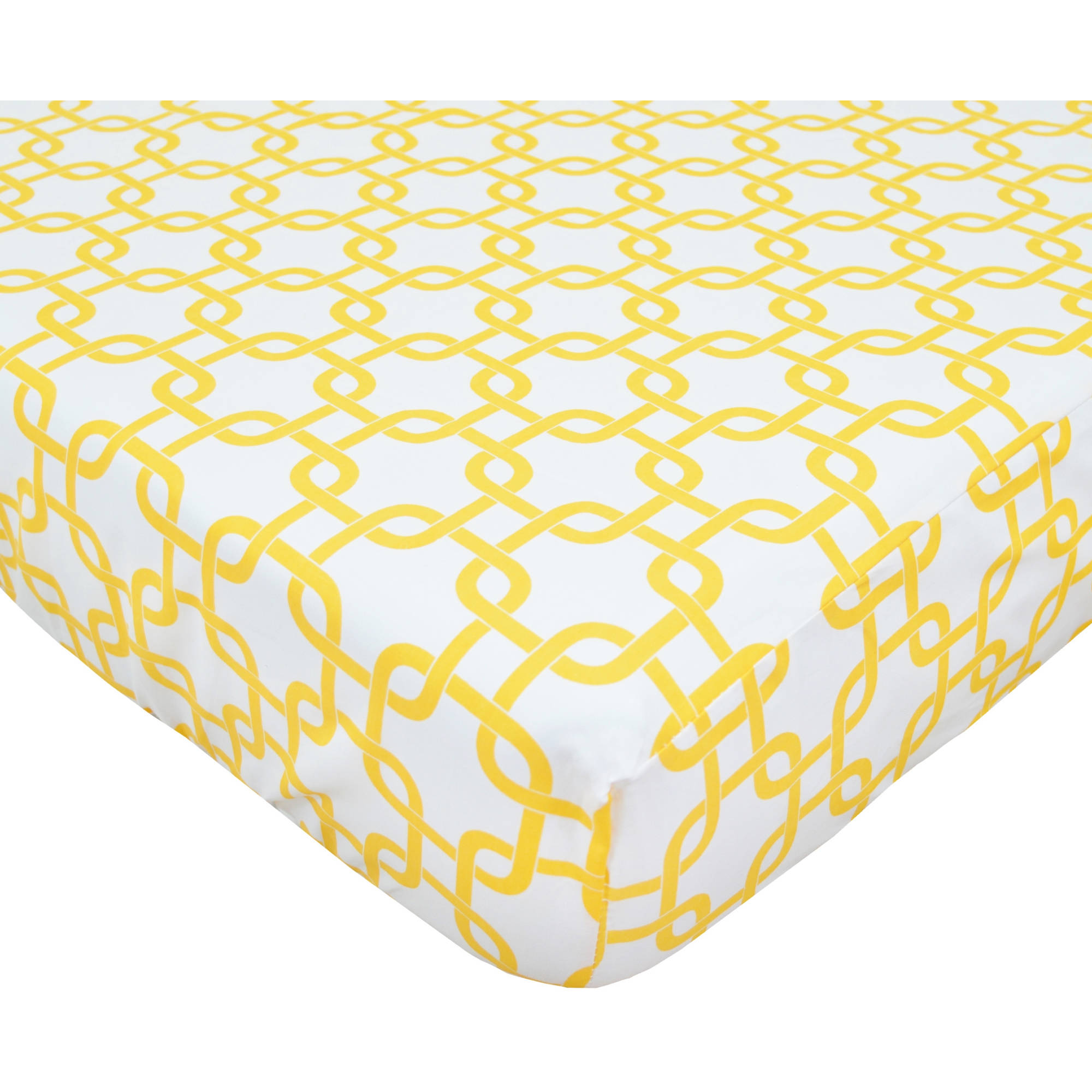 TL Care 100 Percent Cotton Percale Fitted Crib Sheet, Golden Yellow Twill Gotcha